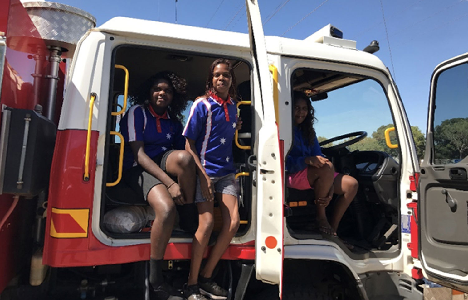 The girls in the fire truck